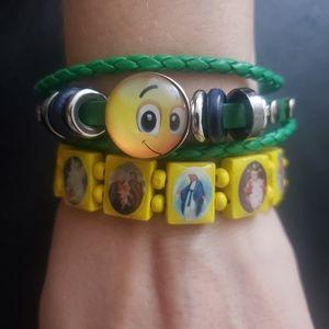 2 pc Green yellow happy religious bracelet s…